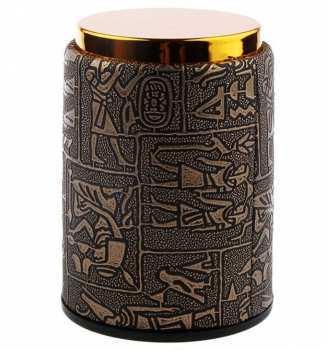 5510107461 Gobelet Pour Lancer Les Dés Style Cuir Or Et Hieroglyphes