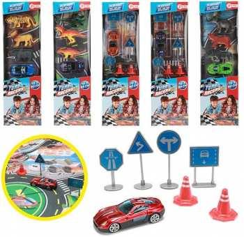 8714627005264 Turbo Racers - Route - Tapis De Jeu Avec Accessoires Et Voitures